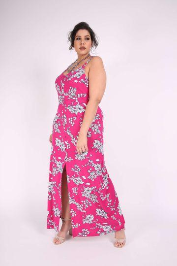 Vestido Longo Plus Size Rosa GG