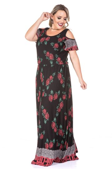 Vestido Longo Rosas Plus SIze 8011-42