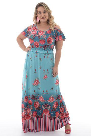 Vestido Longo Rosas Plus Size