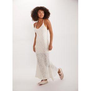 Vestido Longo Tricot Decote Branco P