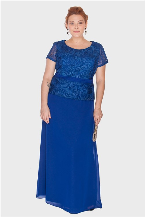 Vestido Longo Tule Bordado Plus Size AZUL ROYAL-50