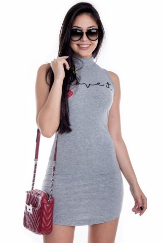 Vestido Love It com Gola e Patches VE1583 - G