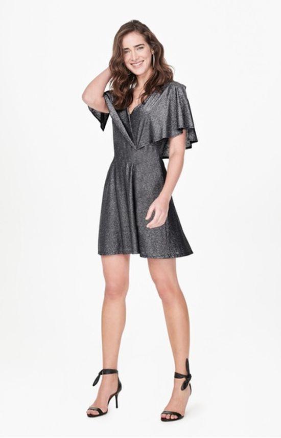 Vestido Lurex Amarração Enfim Cinza - M