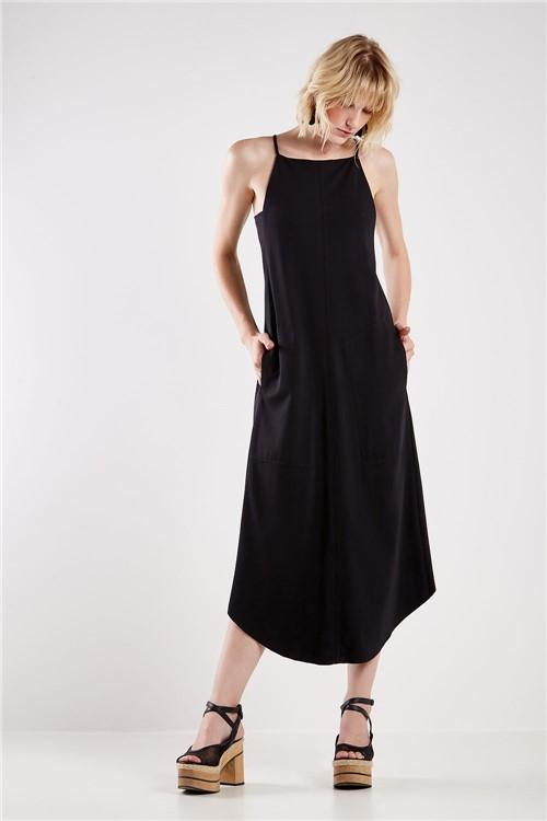 Vestido Malha Casual Recortes Preto - P