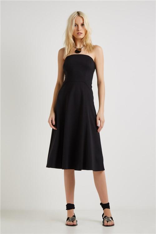 Vestido Malha Elaborado Recortes Preto - M