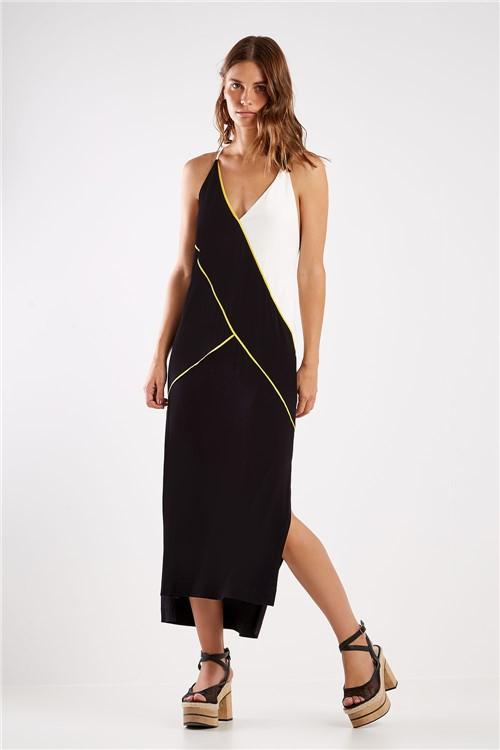 Vestido Malha Recortes Color Preto - P