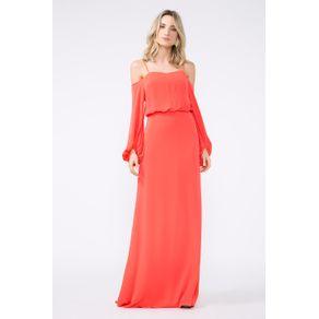 Vestido Mangões Longo Vermelho Hibiscus - 38