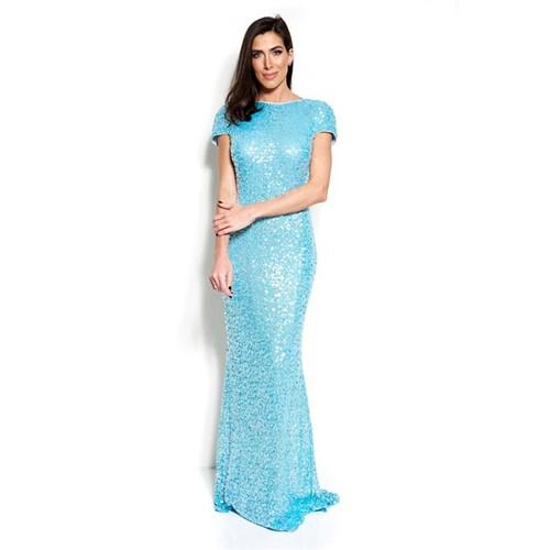 Vestido Maris Longo Bordado em Paetês com Decote na Costas Badgley Mischka - Azul