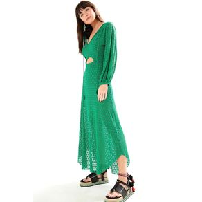 Vestido Mg Longa Renda Verde Espinho - G