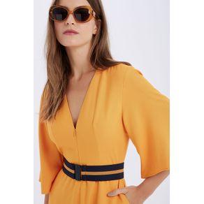 Vestido Mg Morcego Cinto Amarelo Curry - 36