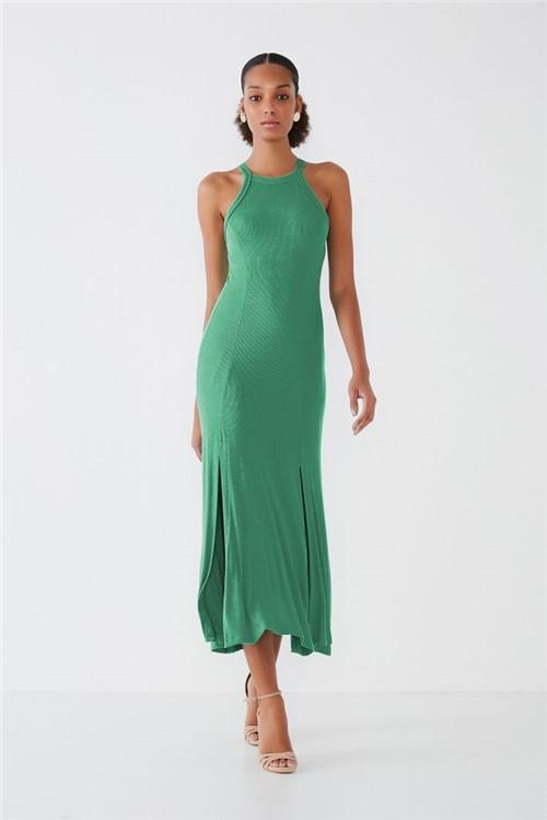 Vestido Midi Canelado Basic - Verde P