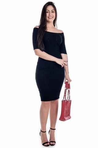Vestido Midi Canelado com Manga Raglã VE1604 - P