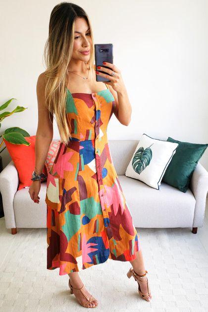 Vestido Midi Cantão Est. Felicidade - Multicolorido
