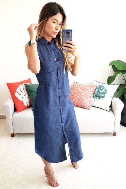 Vestido Midi Colcci Jeans Sem Manga - Azul