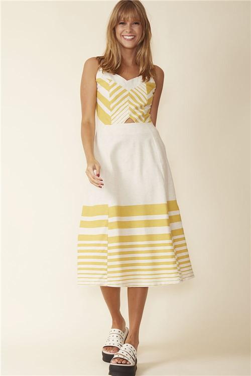 Vestido Midi Decote V - Amarelo Tamanho: P
