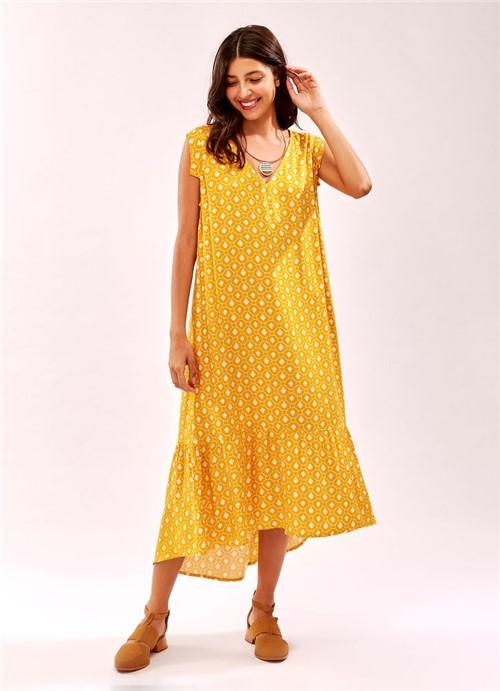 Vestido Midi Decote V Padrao Mel Amarelo G