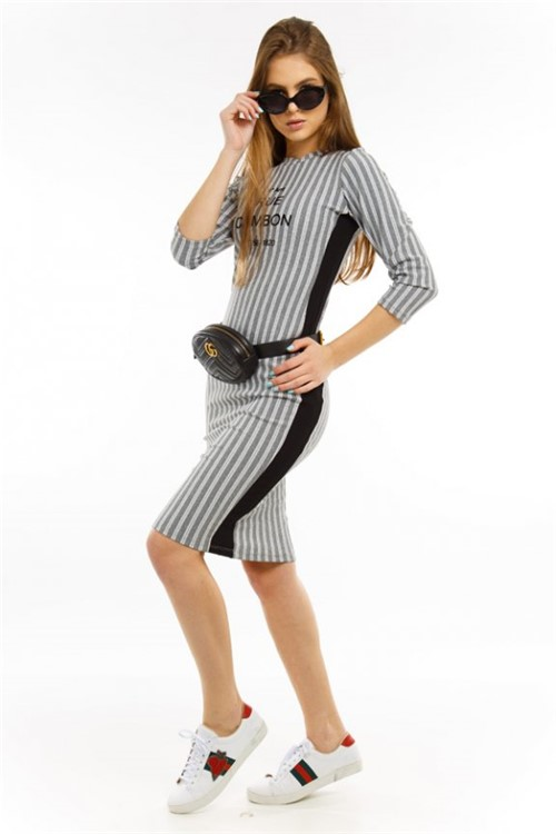 Vestido Midi Estampado com Listra Lateral VE2203 - Kam Bess