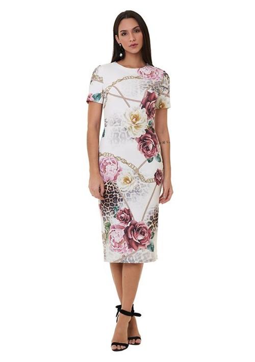 Vestido Mídi Estampado Floral com Onça