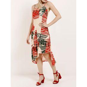 Vestido Midi Feminino Autentique Bege/vermelho P