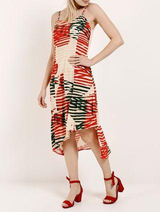 Vestido Midi Feminino Autentique Bege/vermelho