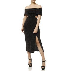 Vestido Midi Feminino Autentique Preto/dourado G