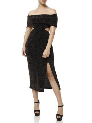 Vestido Midi Feminino Autentique Preto/dourado