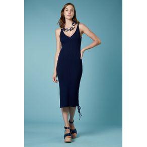 Vestido Midi Fenda Lateral Marinho - M