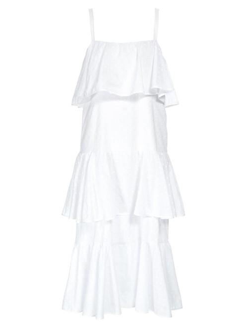 Vestido Midi Tortola de Algodão Branco Tamanho 40