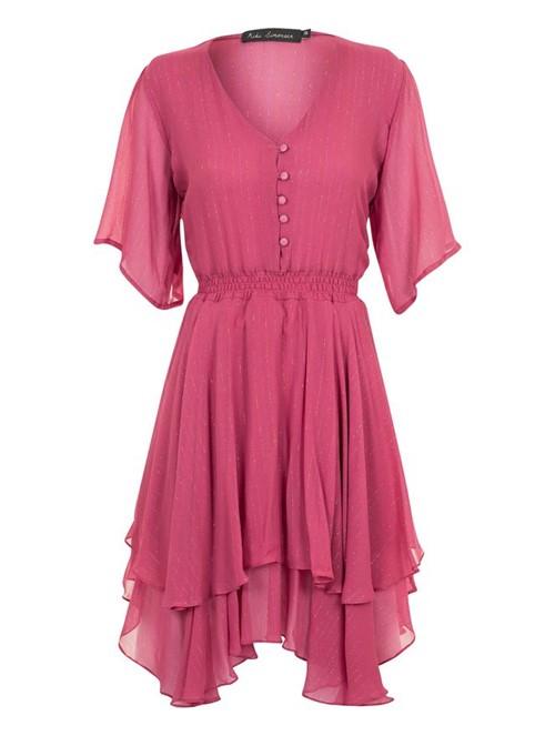 Vestido Mini Babado de Seda Rosa Tamanho 40