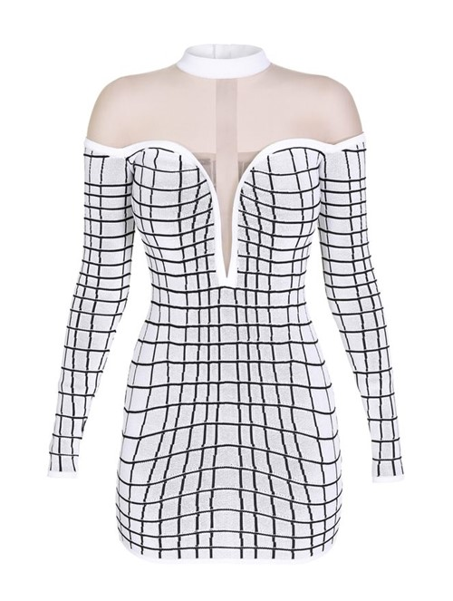 Vestido Mini Grid Effect Branco Tamanho 38