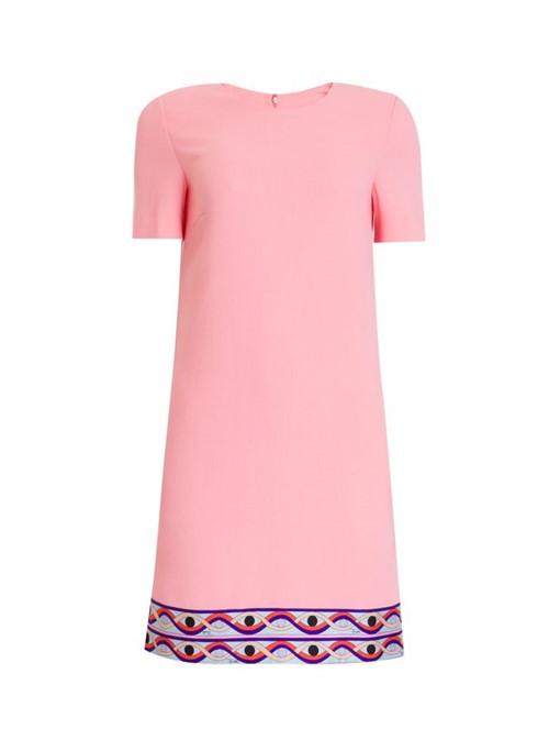 Vestido Mini Manga Curta de Lã Rosa Tamanho 40