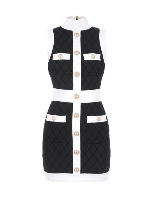 Vestido Mini Preto e Branco Tamanho 42
