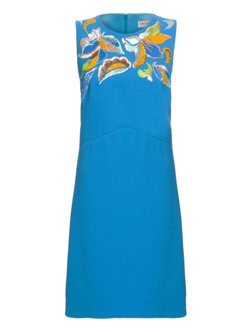 Vestido Mini Tubinho de Lã Azul Tamanho 42