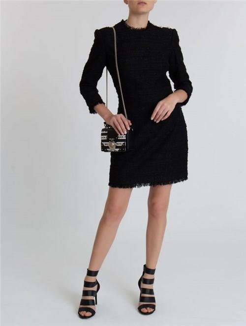 Vestido Mini Tweed de Algodão Preto Tamanho 36