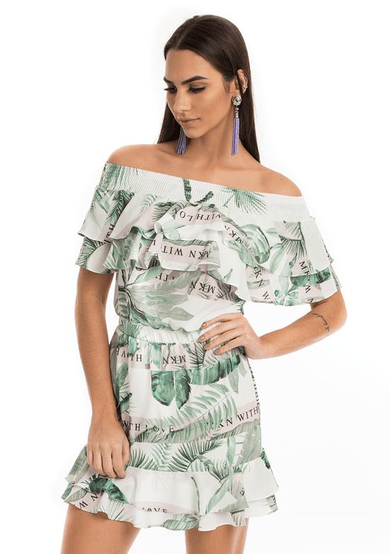 Vestido Ombro a Ombro Botânico