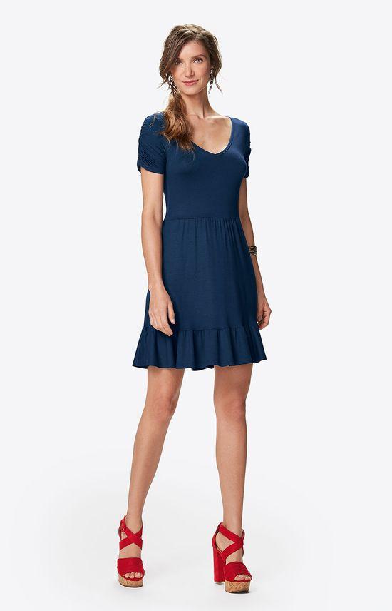 Vestido Peplum Franzidos Malwee Azul Escuro - PP