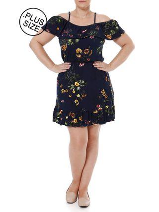 Vestido Plus Size Feminino Autentique Azul Marinho