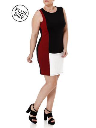 Vestido Plus Size Feminino Preto/vermelho