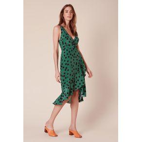Vestido Pois Babados Est Pois Listras Verde - 34