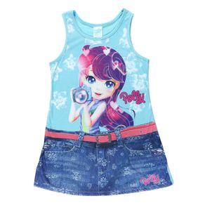 Vestido Polly Infantil para Menina - Azul 4