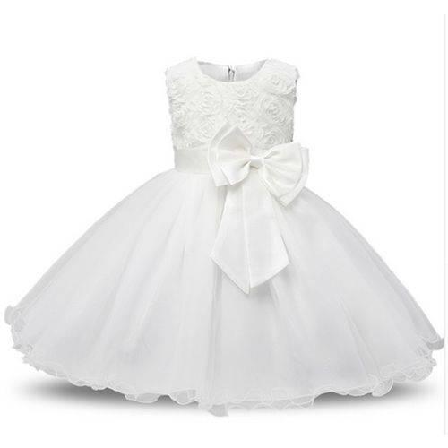 Vestido Princesa Primeiro Aniversário Batismo Daminha Branco