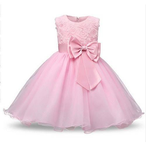 Vestido Princesa Primeiro Aniversário Batismo Daminha Rosa