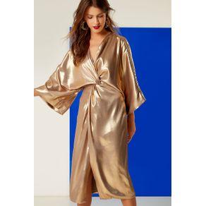 Vestido Quimono Metal Midi Dourado - 44