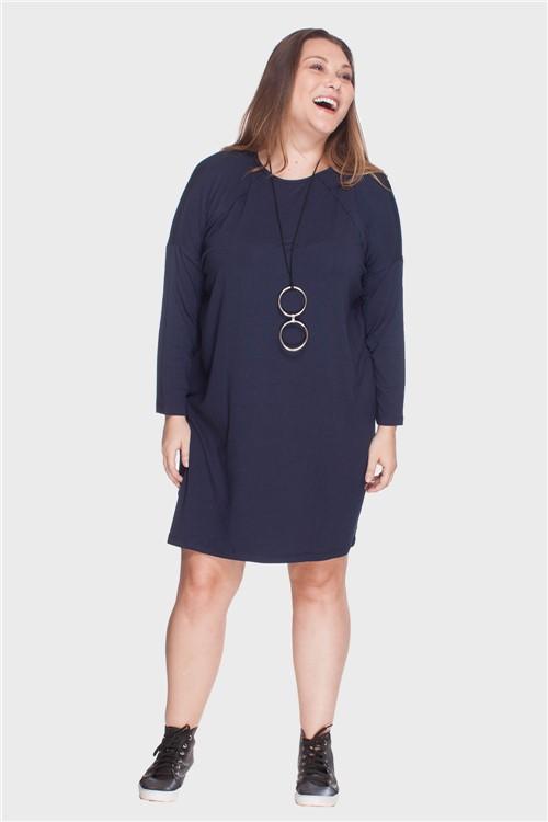 Vestido Recorte a Fio Plus Size Marinho-46/48