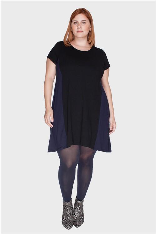 Vestido Recortes Plus Size Marinho-46/48