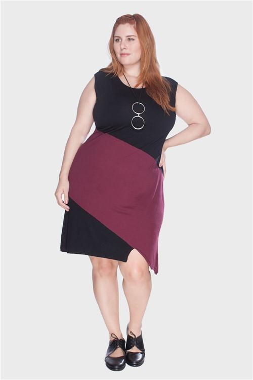 Vestido Regata Bicolor Plus Size Vinho-46/48