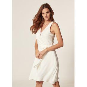 Vestido Regata Crepe Paetê Off White - G