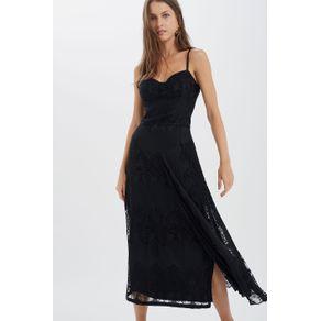 Vestido Renda Plissada com Bojo Preto - 34