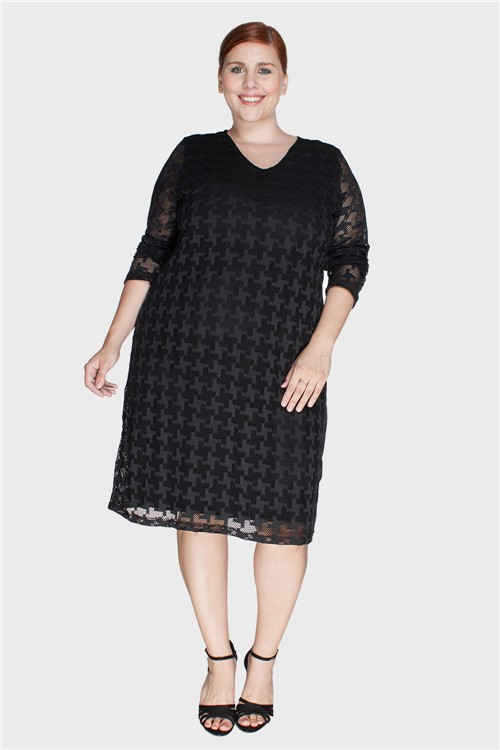 Vestido Renda Plus Size Preto-48