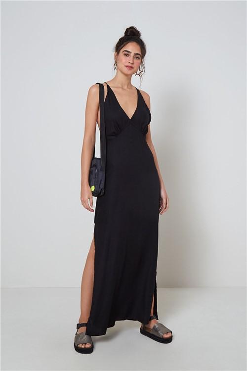 Vestido Reto Fenda Lateral Preto - M